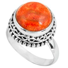 6.48cts natural red sponge coral 925 silver solitaire ring size 8.5 p67559