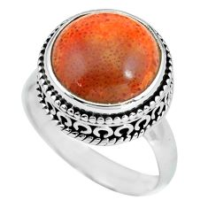 6.83cts natural red sponge coral 925 silver solitaire ring size 7.5 p67560