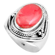 6.96cts natural rhodochrosite inca rose 925 silver solitaire ring size 8 d32165