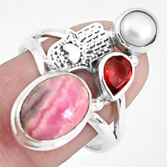 Natural rhodochrosite inca rose silver hand of god hamsa ring size 8.5 p42762