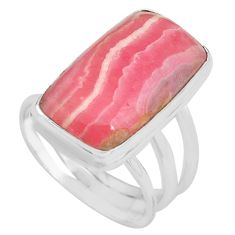 15.31cts natural rhodochrosite inca rose silver solitaire ring size 8 p80662