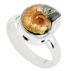 Natural russian jurassic opal ammonite 925 silver solitaire ring size 7.5 p64756