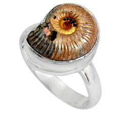 Natural russian jurassic opal ammonite 925 silver solitaire ring size 7.5 p90336