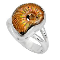 Natural russian jurassic opal ammonite 925 silver solitaire ring size 8 p90337
