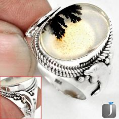 NATURAL SCENIC RUSSIAN DENDRITIC AGATE 925 SILVER DOLPHIN RING SIZE 10 G52444