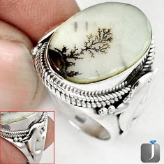 NATURAL SCENIC RUSSIAN DENDRITIC AGATE 925 SILVER DOLPHIN RING SIZE 8 G52448