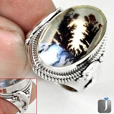 NATURAL SCENIC RUSSIAN DENDRITIC AGATE 925 SILVER DOLPHIN RING SIZE 7 G52449