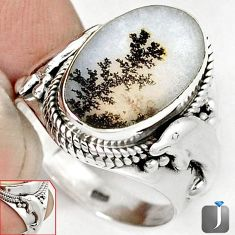 NATURAL SCENIC RUSSIAN DENDRITIC AGATE 925 SILVER DOLPHIN RING SIZE 9 G52456