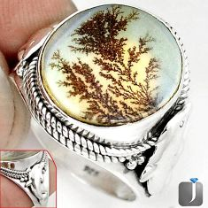 NATURAL SCENIC RUSSIAN DENDRITIC AGATE 925 SILVER DOLPHIN RING SIZE 9.5 G52460