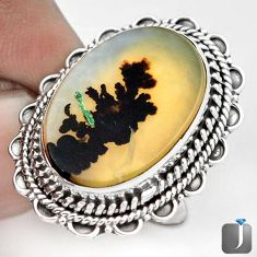 NATURAL SCENIC RUSSIAN DENDRITIC AGATE 925 SILVER RING JEWELRY SIZE 7 G28862