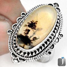 NATURAL SCENIC RUSSIAN DENDRITIC AGATE 925 SILVER RING JEWELRY SIZE 8 G28879
