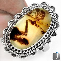 NATURAL SCENIC RUSSIAN DENDRITIC AGATE 925 SILVER RING JEWELRY SIZE 9 G28880