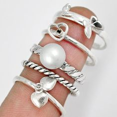 NATURAL SILVER PEARL 925 STERLING STACKABLE HEART 5 BAND RING SIZE 7.5 H27283