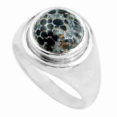 4.94cts natural stingray coral from alaska silver solitaire ring size 8 d32017