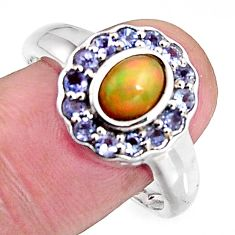 4.03cts natural tanzanite ethiopian opal 925 silver ring size 10 c5558