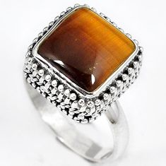 NATURAL TIGERS EYE 925 STERLING SILVER SOLITAIRE RING JEWELRY SIZE 8.5 H23746