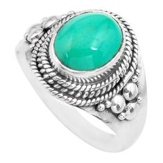 4.22cts natural turquoise tibetan 925 silver solitaire ring size 8.5 p71838