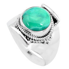 5.75cts natural turquoise tibetan 925 silver solitaire ring size 9.5 p72190