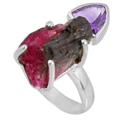 Natural watermelon tourmaline amethyst 925 silver solitaire ring size 7 d32602