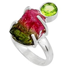 11.57cts natural watermelon tourmaline rough 925 silver ring size 6 p92605