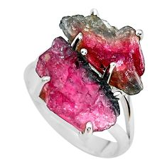 Natural watermelon tourmaline rough 925 silver solitaire ring size 7 p48517