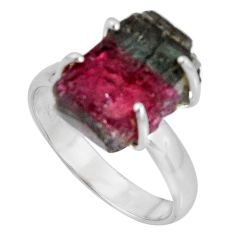 10.29cts natural watermelon tourmaline rough fancy 925 silver ring size 8 d32617