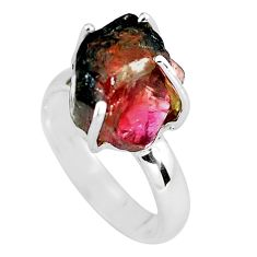 7.00cts natural watermelon tourmaline rough silver solitaire ring size 6 p60500
