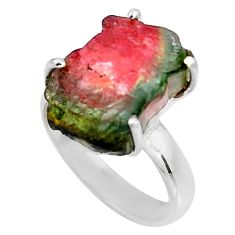 7.33cts natural watermelon tourmaline rough silver solitaire ring size 7 p92606