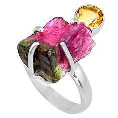 12.52cts natural watermelon tourmaline rough silver solitaire ring size 7 p92607