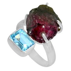 12.83cts natural watermelon tourmaline rough topaz 925 silver ring size 8 d32611