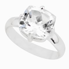 5.17cts natural white danburite faceted 925 silver solitaire ring size 8 p63722