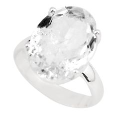 8.84cts natural white danburite faceted 925 silver solitaire ring size 6 p63726