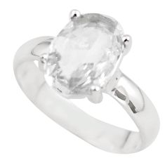 3.73cts natural white danburite faceted 925 silver solitaire ring size 7 p63727