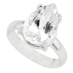6.03cts natural white danburite faceted 925 silver solitaire ring size 8 p63730