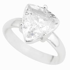 4.89cts natural white danburite faceted 925 silver solitaire ring size 6 p63731