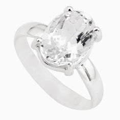 5.03cts natural white danburite faceted 925 silver solitaire ring size 8 p63733