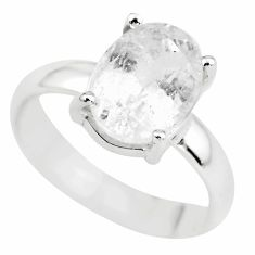 4.24cts natural white danburite faceted 925 silver solitaire ring size 6 p63734