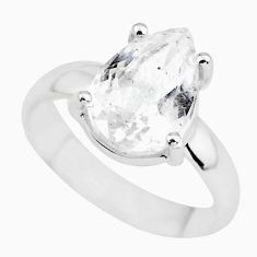 4.24cts natural white danburite faceted 925 silver solitaire ring size 6 p63735