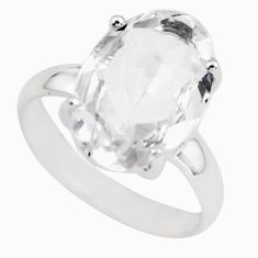 7.13cts natural white danburite faceted 925 silver solitaire ring size 7 p63736