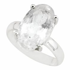 6.38cts natural white danburite faceted 925 silver solitaire ring size 8 p63739