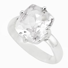 4.51cts natural white danburite faceted 925 silver solitaire ring size 7 p63740
