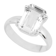 4.24cts natural white danburite faceted 925 silver solitaire ring size 6 p63743