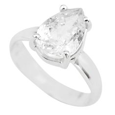 4.24cts natural white danburite faceted 925 silver solitaire ring size 7 p63747