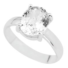 3.91cts natural white danburite faceted 925 silver solitaire ring size 7 p63819
