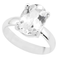 4.51cts natural white danburite faceted silver solitaire ring size 6.5 p63753