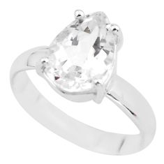 4.67cts natural white danburite faceted silver solitaire ring size 8.5 p63815