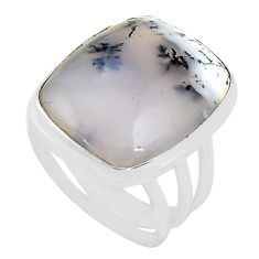 16.87cts natural white dendrite opal 925 silver solitaire ring size 7.5 p80535