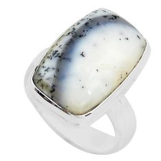 13.27cts natural white dendrite opal 925 silver solitaire ring size 6.5 p80790