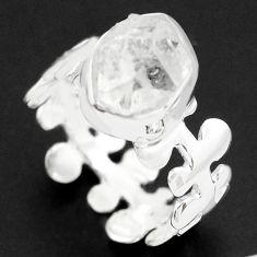 5.17cts natural white herkimer diamond 925 silver solitaire ring size 6 p74013