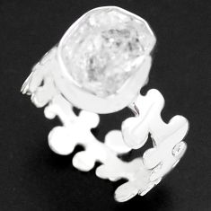 5.96cts natural white herkimer diamond 925 silver solitaire ring size 7.5 p74019